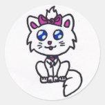 Gatito lindo pegatina redonda