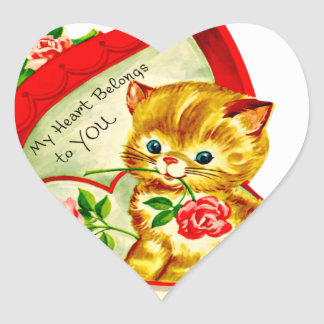 Gatito lindo retro en una caja 2 del corazón pegatina en forma de corazón