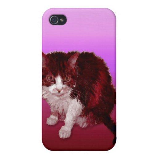 Gatito magenta iPhone 4 fundas