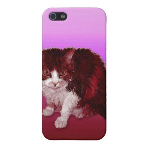 Gatito magenta iPhone 5 carcasa