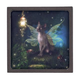 Gatito mágico del Faery Caja De Recuerdo De Calidad