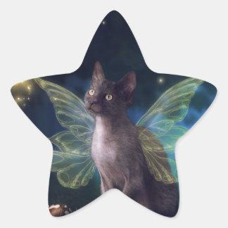 Gatito mágico del Faery Calcomanías Forma De Estrellas