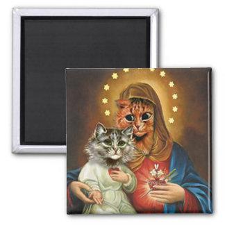 Gatito Maria y Jesús con los corazones sagrados Imán Cuadrado