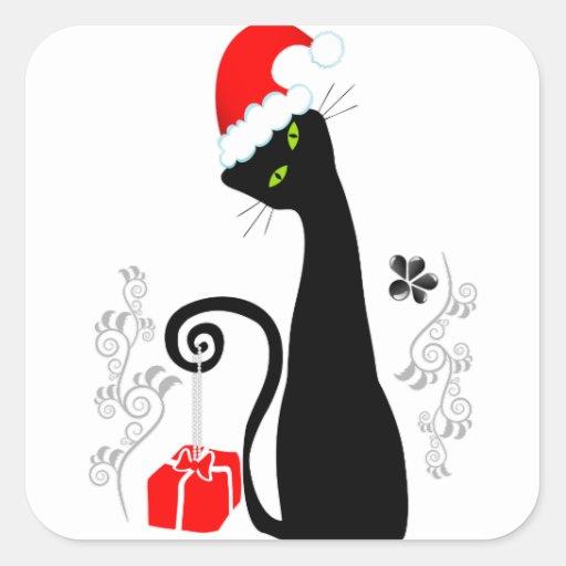 Gatito moderno del navidad pegatina cuadrada