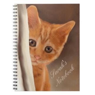 Gatito mullido del jengibre spiral notebooks