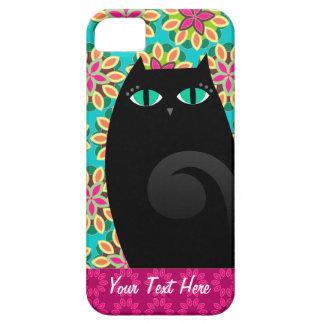 Gatito negro bonito en el caso de encargo floral iPhone 5 fundas
