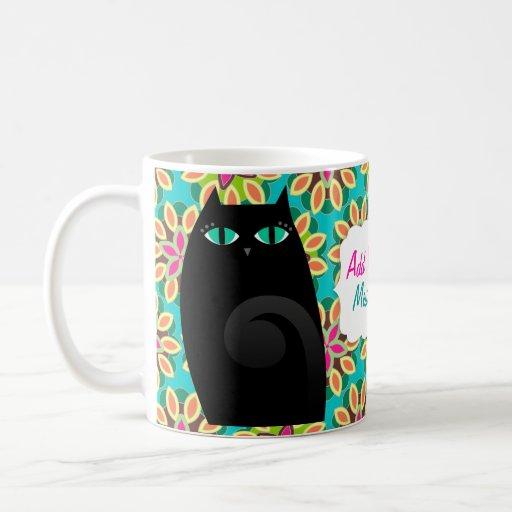 Gatito negro bonito tazas de café