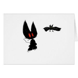 Gatito negro con el palo que revolotea tarjeta
