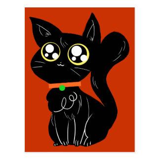 Gatito negro Cutesy Tarjeta Postal
