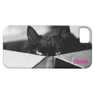 Gatito negro de la metida de pata iPhone 5 carcasas