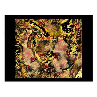 gatito negro del fuego de la raqueta tarjetas postales
