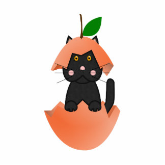 Gatito negro en un melocotón esculturas fotográficas