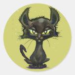 Gatito negro etiquetas redondas