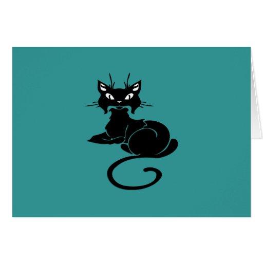 Gatito negro lindo tarjeta pequeña