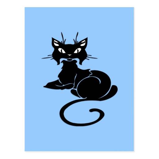 Gatito negro lindo tarjeta postal