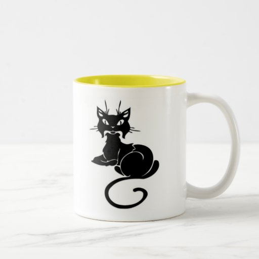 Gatito negro lindo tazas
