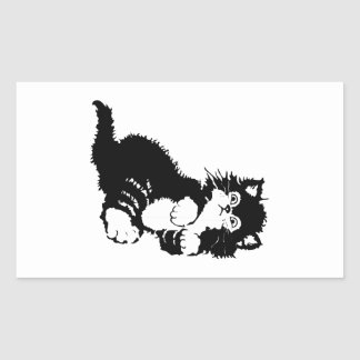 Gatito negro pegatina rectangular