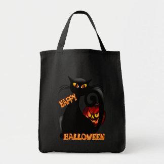Gatito negro y bolsos malvados de la calabaza de H Bolsas De Mano