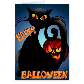 Gatito negro y tarjeta malvada de la calabaza de H