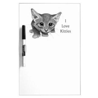 Gatito observado grande: Dibujo de lápiz: A pulso, Pizarras