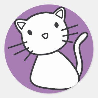 gatito pegatina redonda
