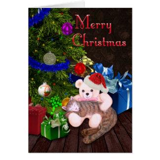 Gatito, peluche, y árbol de navidad de las Felices Tarjeta De Felicitación