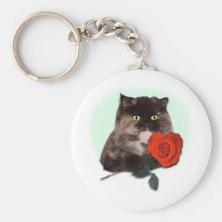 Gatito persa con el rosa llavero redondo tipo pin
