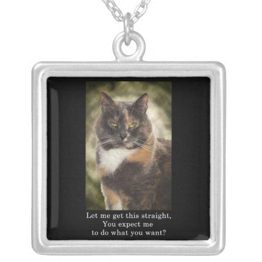 ¿Gatito presumido - qué usted quieren? Colgante Cuadrado