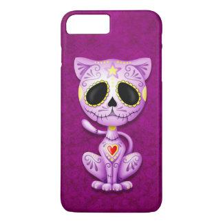Gatito púrpura del azúcar del zombi funda iPhone 7 plus