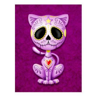 Gatito púrpura del azúcar del zombi postales