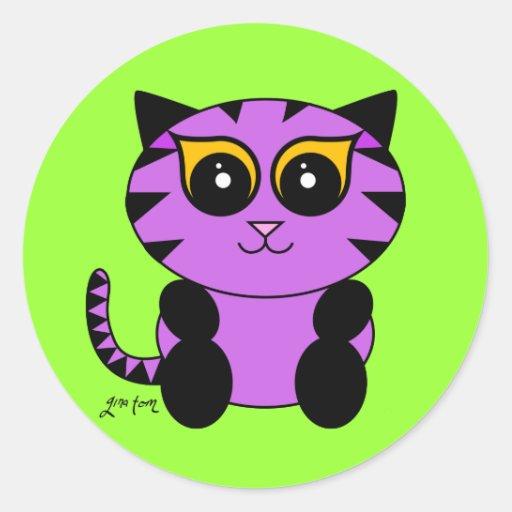 Gatito púrpura etiquetas
