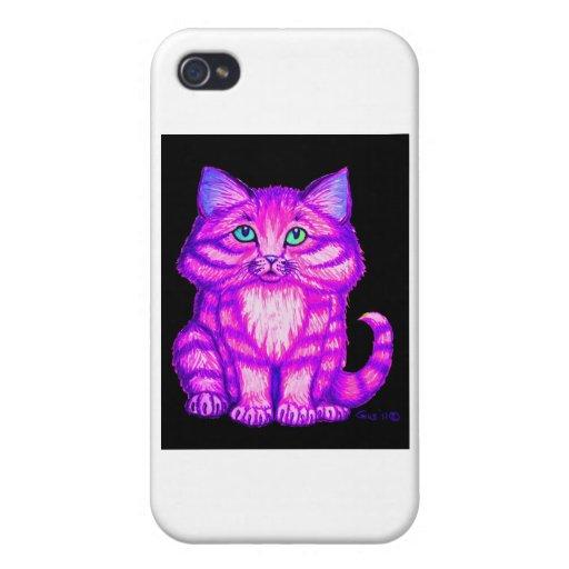 Gatito púrpura iPhone 4 cárcasas