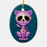 Gatito púrpura y azul del azúcar del zombi ornamentos de reyes magos
