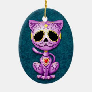 Gatito púrpura y azul del azúcar del zombi adorno ovalado de cerámica