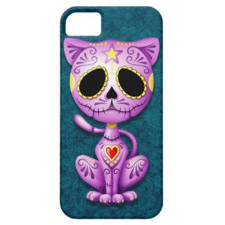 Gatito púrpura y azul del azúcar del zombi iPhone 5 Case-Mate funda
