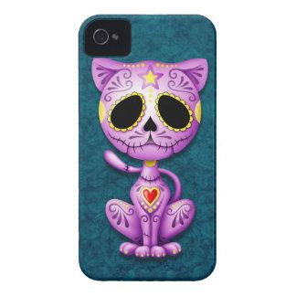Gatito púrpura y azul del azúcar del zombi Case-Mate iPhone 4 protector