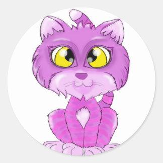Gatito púrpura y rosado del gato de Cheshire Etiquetas Redondas