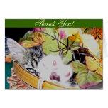 Gatito que agita, hojas del gato del gatito del tarjeta de felicitación