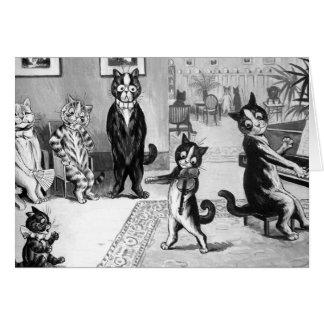 Gatito que da un decreto tarjeta de felicitación