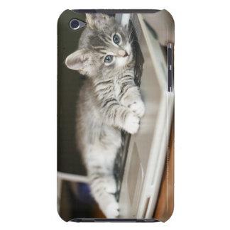 Gatito que descansa sobre el ordenador portátil iPod touch carcasas