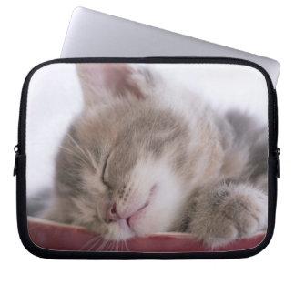 Gatito que duerme en el cuenco 2 funda ordendadores