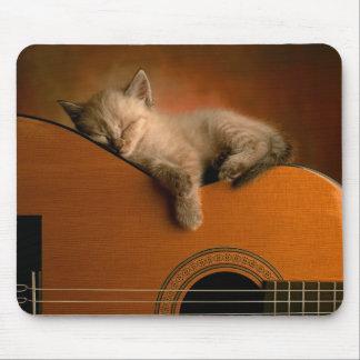 Gatito que duerme en la guitarra Mousepad