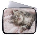 Gatito que duerme en la toalla mangas portátiles