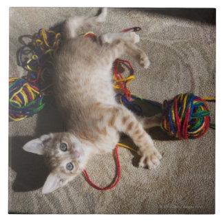 Gatito que juega con hilado azulejo cuadrado grande