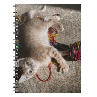 Gatito que juega con hilado libreta