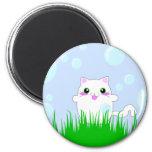 Gatito que juega en burbujas imanes