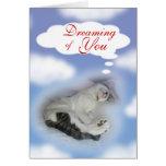 Gatito que soña con usted felicitación