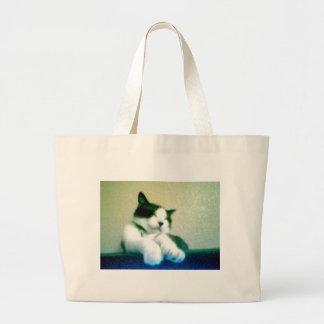 gatito reclinado lindo bolsa tela grande