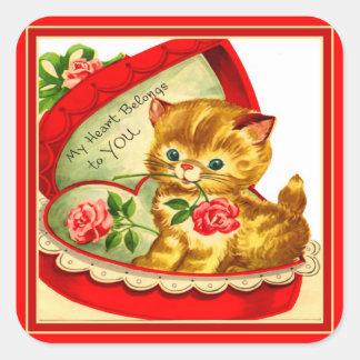 Gatito retro del ~ de la tarjeta del día de San Colcomanias Cuadradas Personalizadas