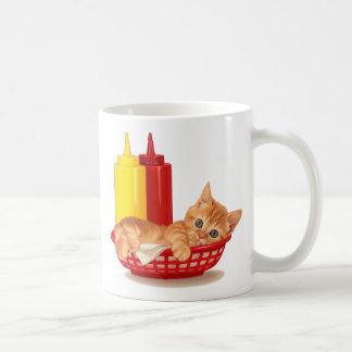 Gatito retro del estilo del comensal taza de café